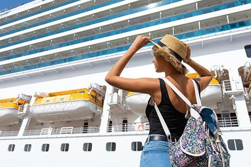 Woman by Cruise Ship