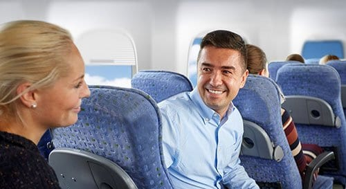 Man and Woman on Airplane