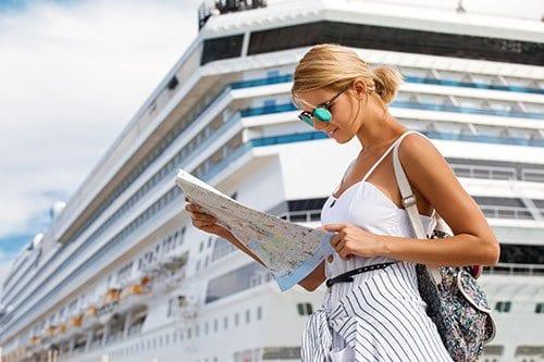 Woman near Cruise Ship